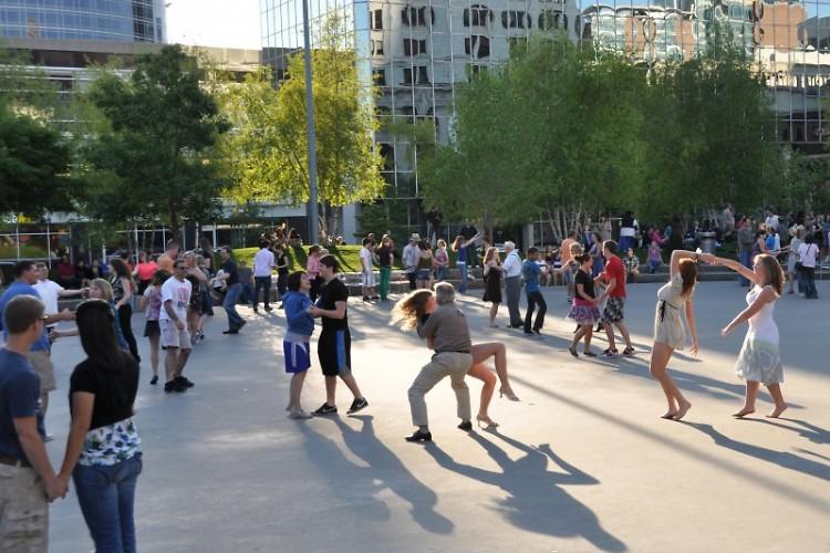 Swing dancing in Rosa Parks Circle