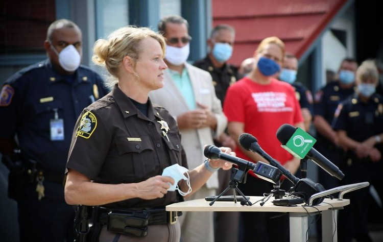 Kent County Sheriff LaJoye-Young speaks at a September 1 press conference held by community leaders.