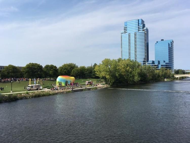 A view of Ah-Nab-Awen Park during ArtPrize 2016.