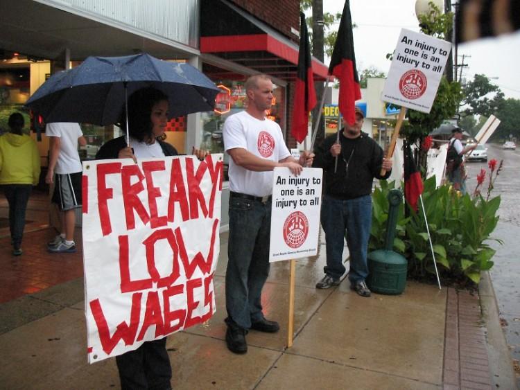 Demonstrators Outside of Eastown Jimmy John's