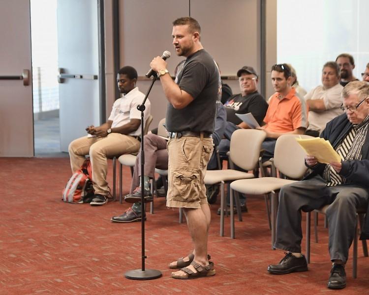 Louis DeShane speaks during open forum at the August 30, 2017 Rapid Board meeting