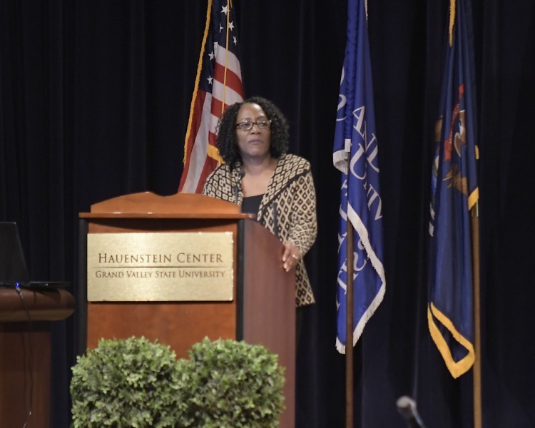 Christy S. Coleman, CEO of the American Civil War Museum in Richmond, Virginia speaks a GVSU as part if MLK week