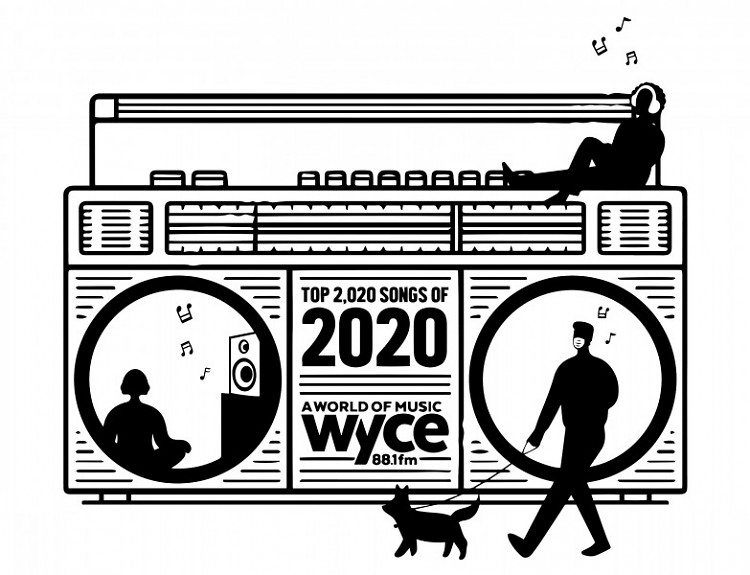 Logo for WYCE's Top 2,020 Songs Played on WYCE in 2020 Countdown.