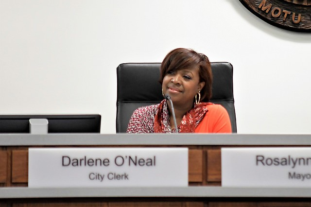 Grand Rapids City Clerk Darlene O'Neal attending her last commission meeting before retiring later this month