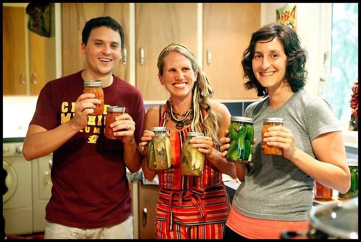 """Defenders of Our Food Traditions"" canning together. (L-R Chris Zoladz, Lisa Rose Starner, Anne Rosenbaum)"