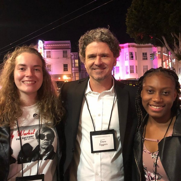 Maeve Wilbourn and Aliya Hall in San Francisco with writer Dave Eggers.