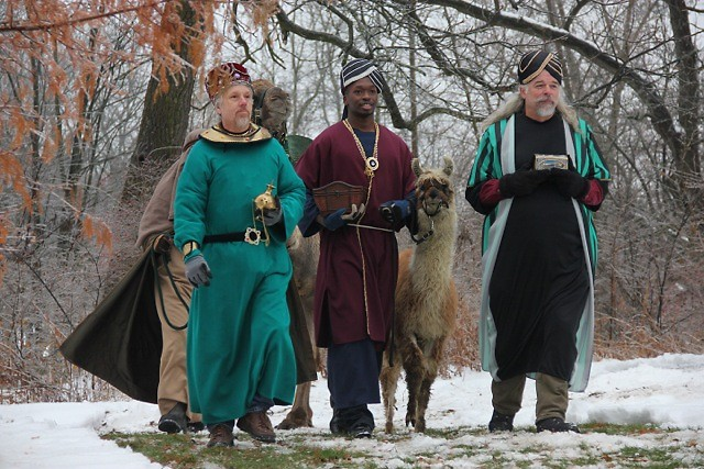 Three wise men approach the nativity at the Dominican Center of Marywood