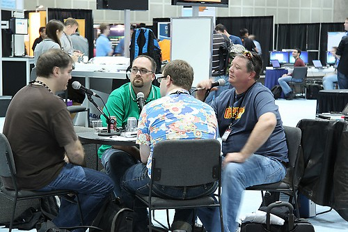 Woodruff (in green) and Elder (in navy) snagging interviews at Microsoft's 2009 Professional Developers Conference.