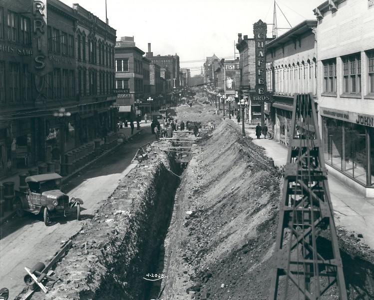 The Harris Building (left), site of the History of Heartside event, can be seen in this 1928 photo of a street-widening project.