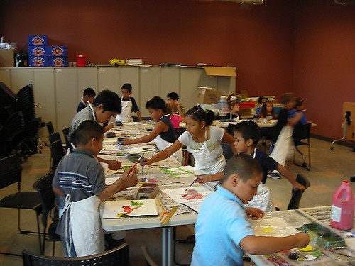 An art workshop at the Cook Library Center.