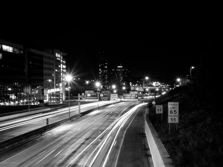 I-196, passing downtown Grand Rapids.