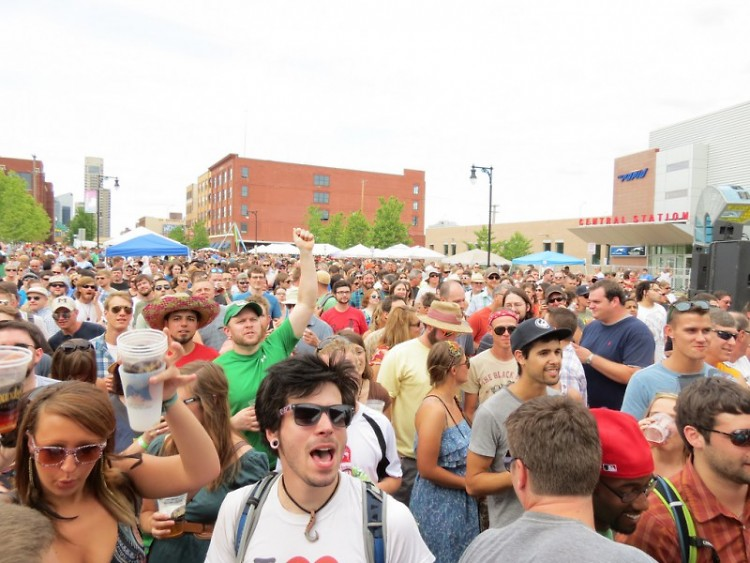 Crowd packing the street at Founders Fest