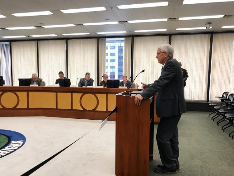 Commissioner Jim Talen speaking to the Kent County Board of Commissioners