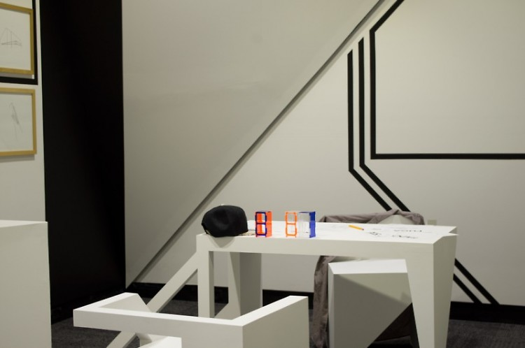"Stoelting's installation, ""Architectonic"", at the UICA."