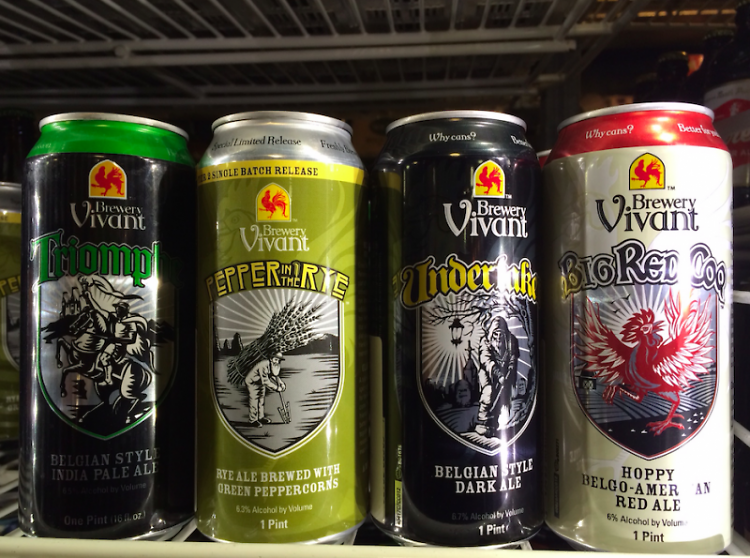 Brewery Vivant cans of beers on tap