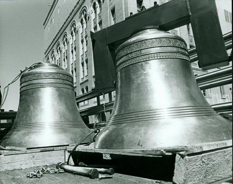 Bronze Cast bells prior to installation at Fountain Street Church circa 1976