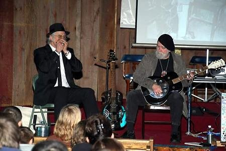 "Jimmie Stagger and David ""Dr. Hamfat"" Marin performing live blues for students"