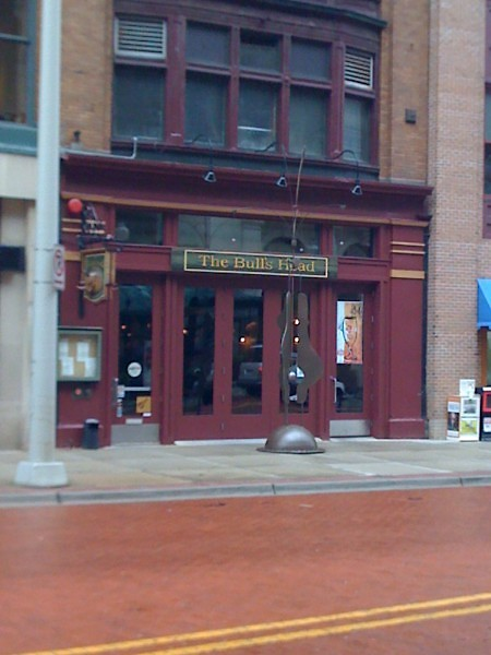 """Steve Pappas' """" Woman"""" stands out in front of The Bull's Head Tavern on Monroe."""