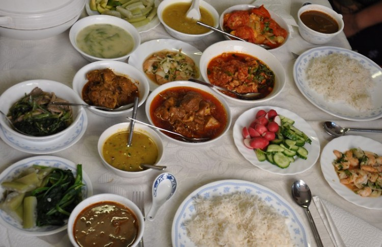 Traditional Burmese food. Rich and earthy spices are a mark of the Chin cuisine.