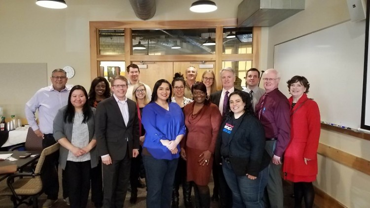 United Way's Census Hub advisory committee meets with staff from Senator Gary Peters' office in February.