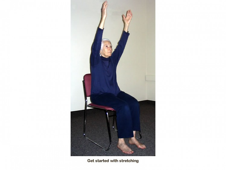Jean Reimer, OP (Dominican Sister at Marywood) begins with simple stretches.