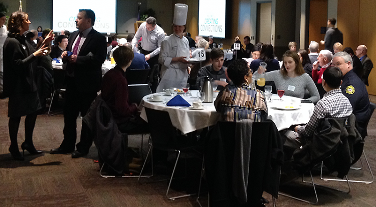 Donors and recipients enjoying breakfast together