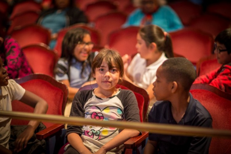 Students waiting to read at the 2015 launch at Wealthy Theatre