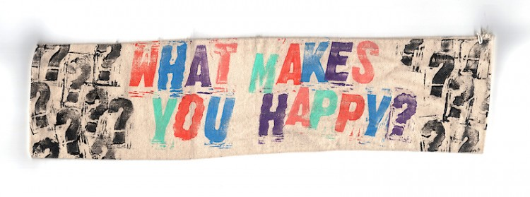 "Dave Battjes. ""What Makes You Happy?"" Ink, hardware on canvas. 2021"