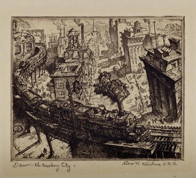 "Reynold H. Weidenaar (American, 1915-1985), ""Dawn the Awakening City,"" 1951 Etching on paper 2 ½ x 3 in."