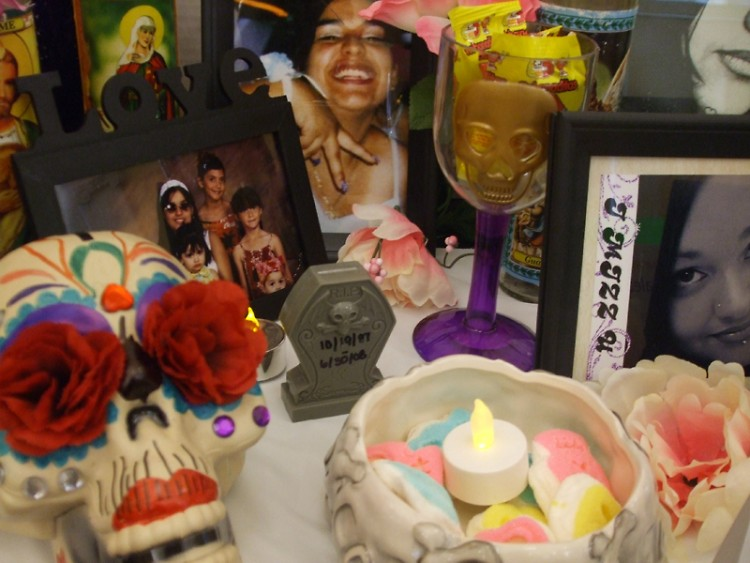 An ofrenda designed by local residents to honor their deceased loved ones