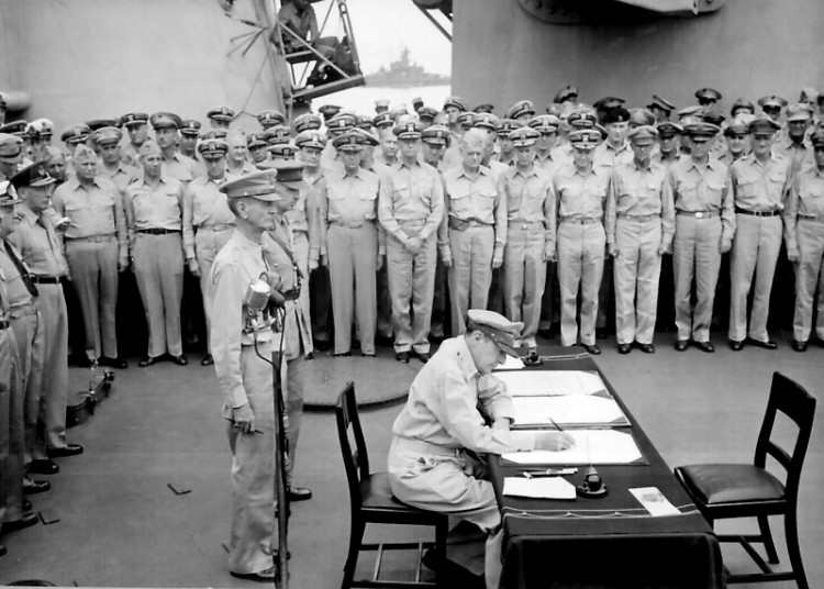 General MacArthur signs the declaration ending WWII on September 2, 1945