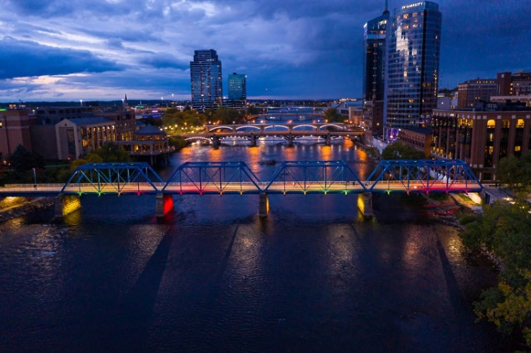 Downtown Grand Rapids at dusk.