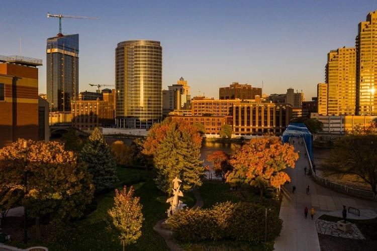 Downtown Grand Rapids, facing east.
