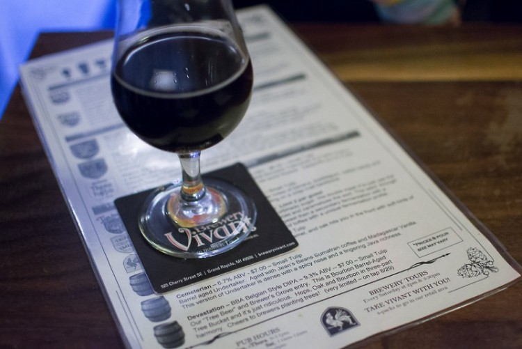 Brewery Vivant Cemetarian, a oak barreled beer with coffee and vanilla on tap until October 4.