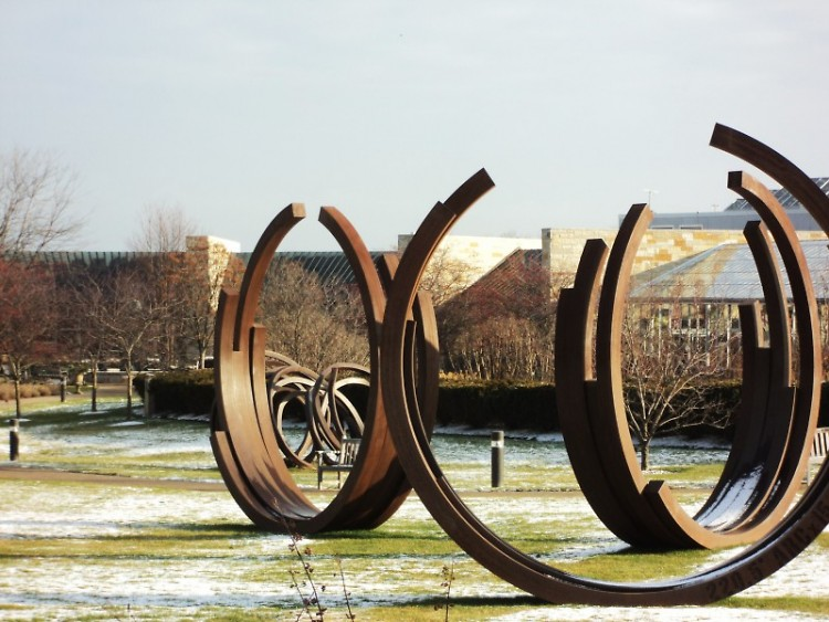 "Bernar Venet's ""221.5 degree Arc X  28"""