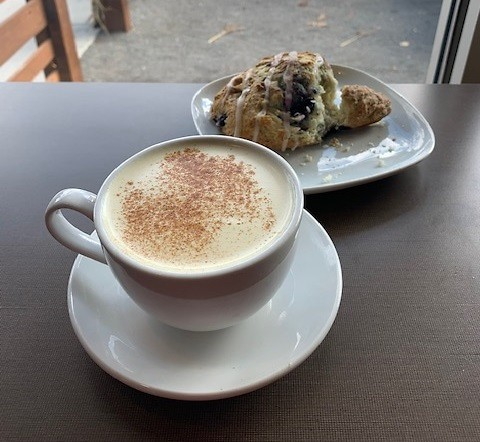 Golden Chai and blueberry scone at Lucy's Cafe.