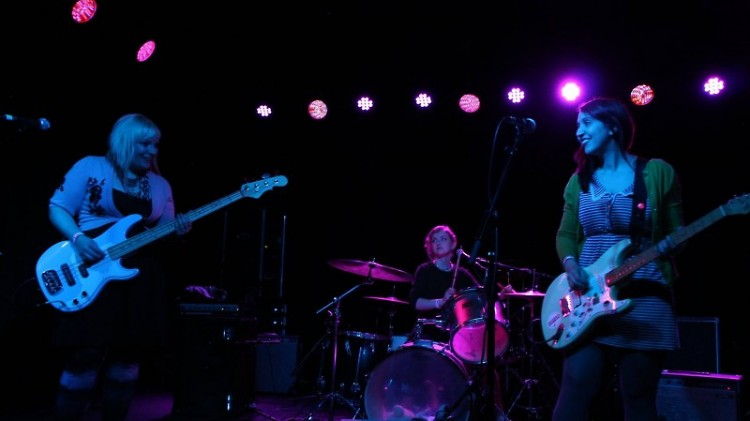 """Co-Founder of """"Ladies Rock"""" Lena Nieboer (Right) performing with her band, FLUSHED"""