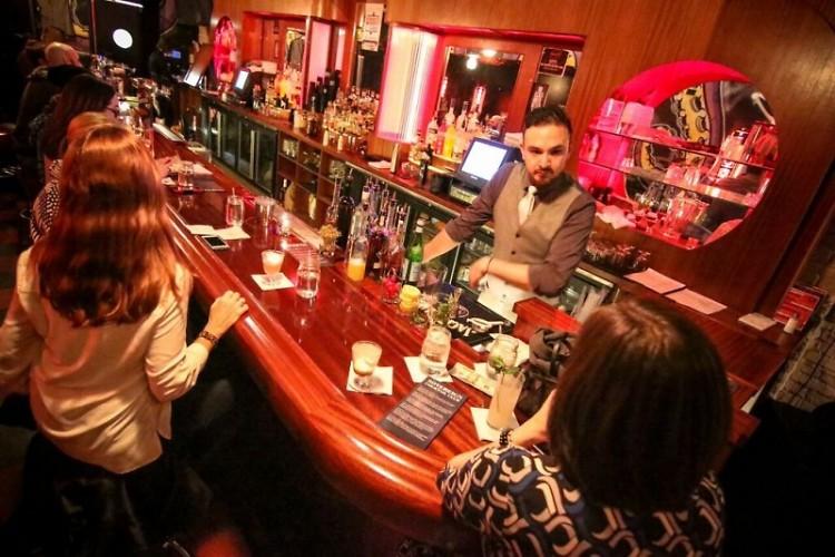 "The backroom bar kicking off January's club ""meet."""