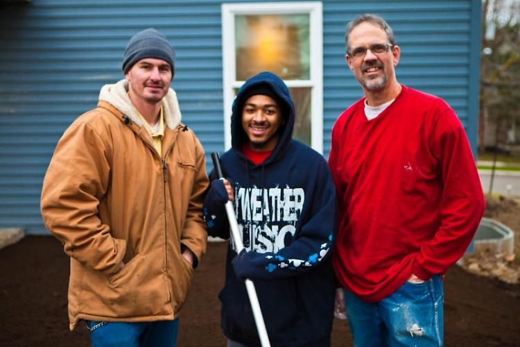 L to R: Eric Vanderberg, Michael Bradley, and Bill Moerdyk at the Habitat house