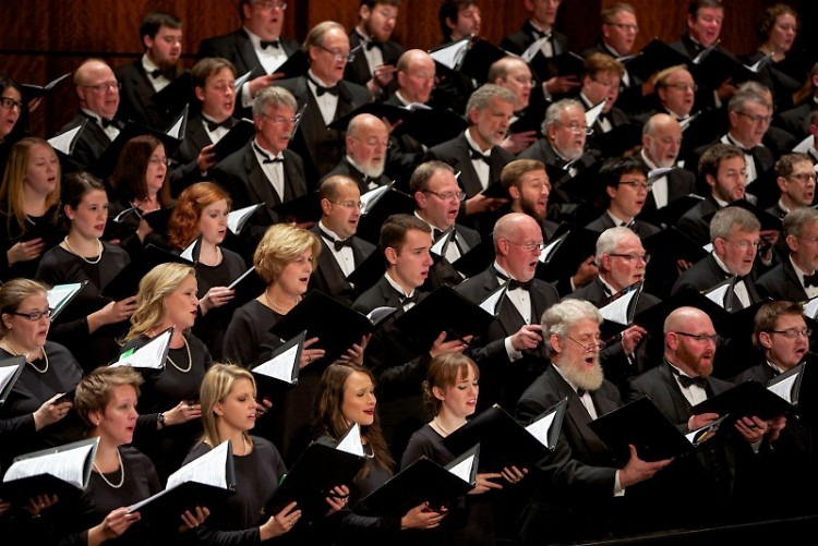 """Grand Rapids Symphony Chorus and Youth Chorus joins the orchestra to sing """"Carmina Burana"""" on May 13-14, 2016 in DeVos Hall."""