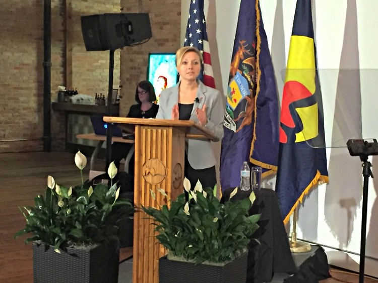Mayor Rosalynn Bliss giving her State of the City at the Harris Building