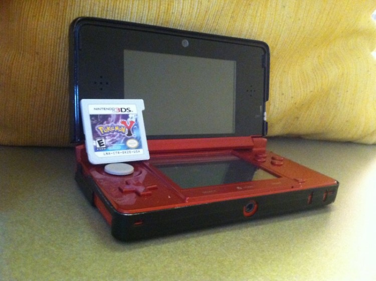 A Nintendo 3DS with Pokemon Y.