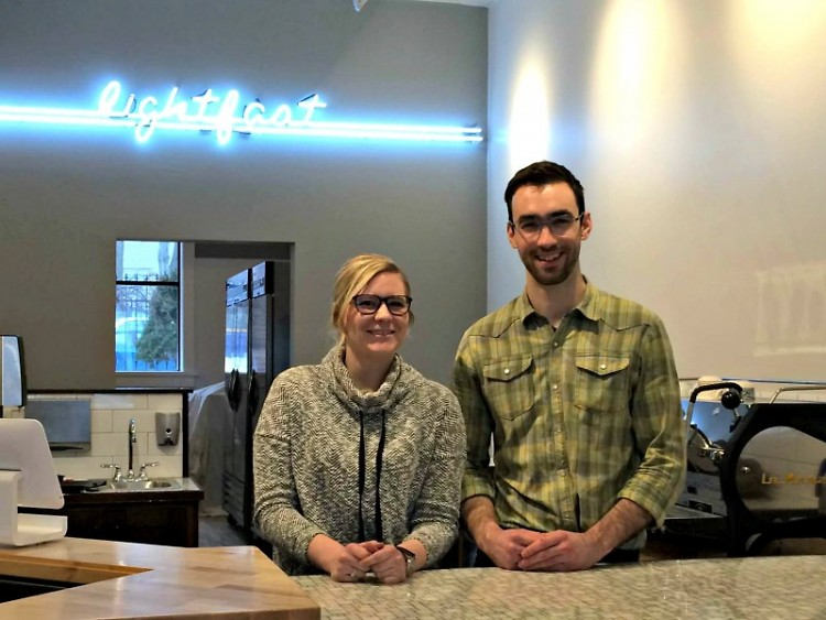 Kate Helmreich, owner, and Richard Mooney, assistant manager at Lightfast Coffee Bar + Art Collective