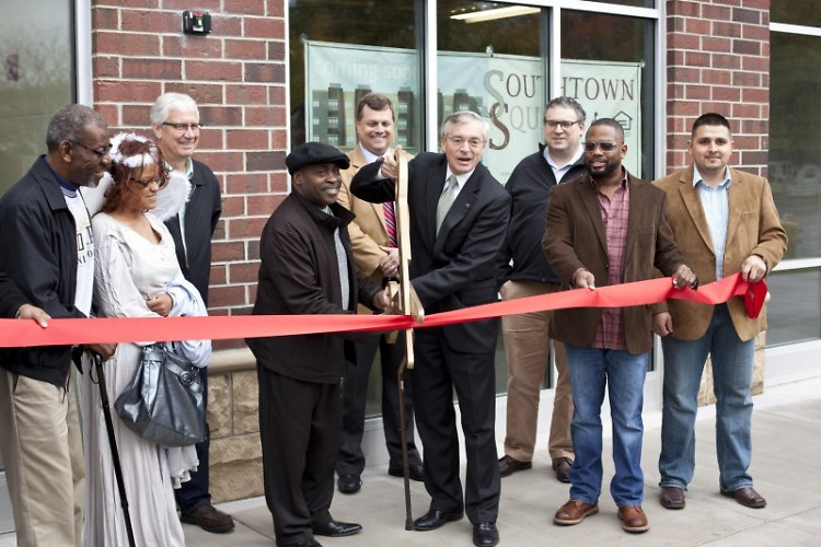 Ribbon cutting with Mayor George Heartwell