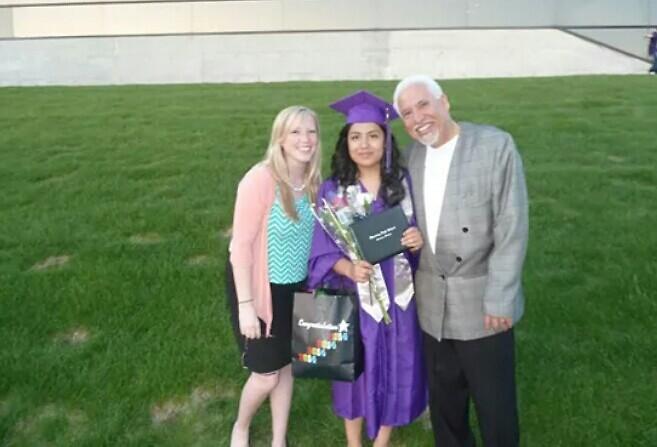 Stephanie Menendez on her graduation day with Rachel Lopez and Ricardo Martinez