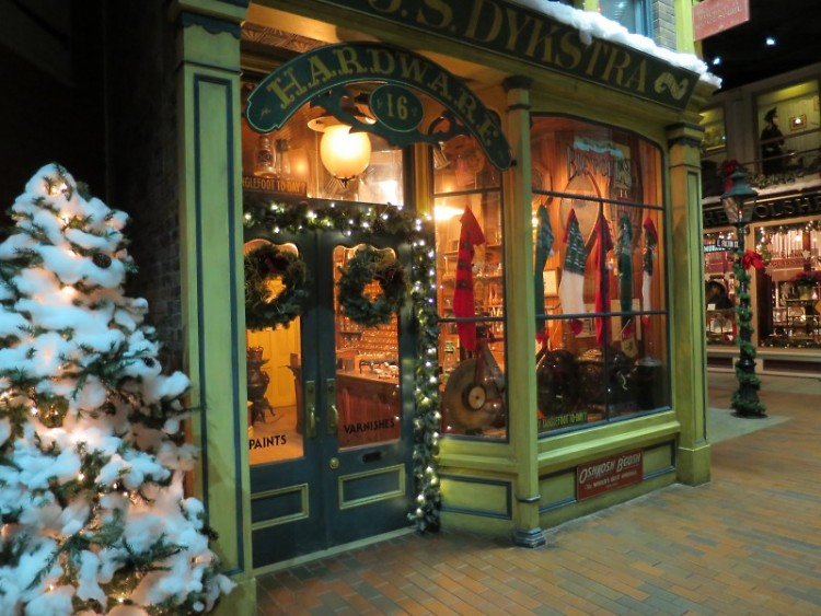 Streets of Old Grand Rapids decorated for Christmas