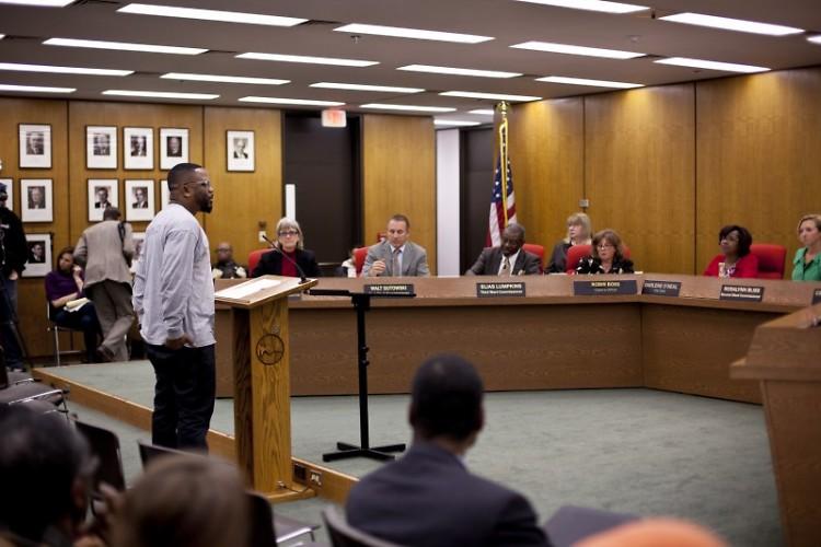 LINC Co-Executive Director Darel Ross II addresses city commissioners
