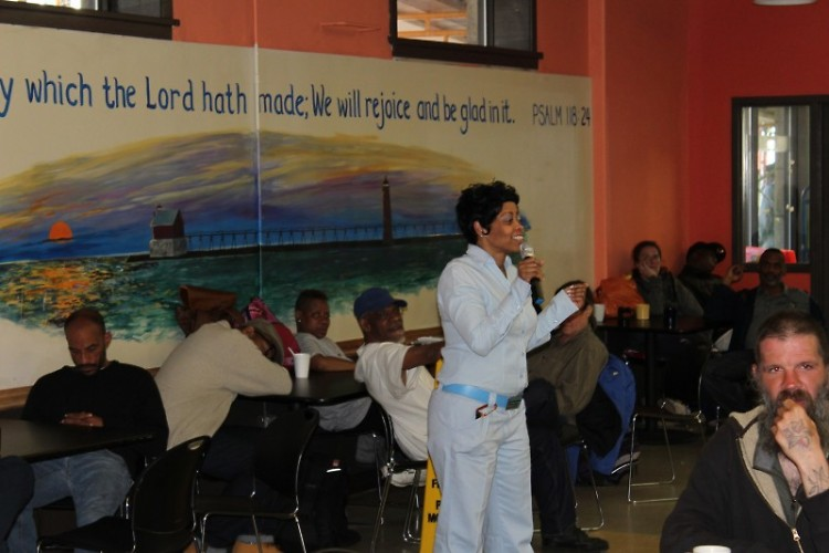 Our Operations Manager, Angela, sharing from God's Word in the morning