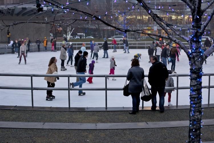 Ice rink at Rosa Parks Circle
