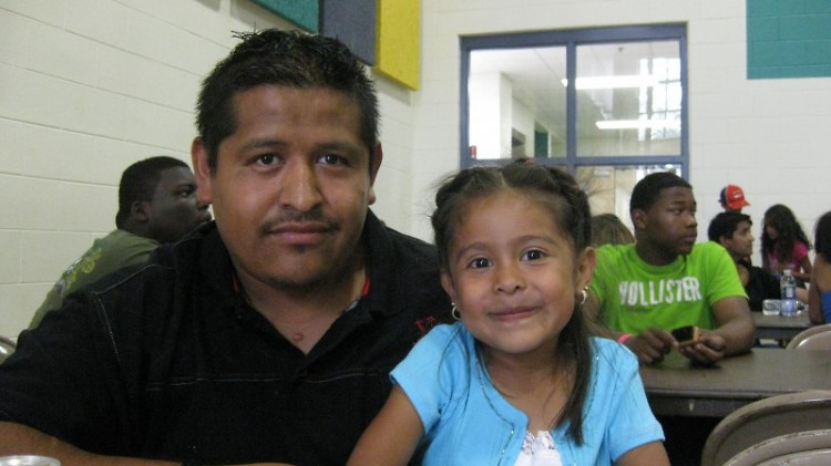 Parent Jose Vasquez and his daughter, Diane